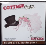 Cottage Cutz Elegant veil and Top hat