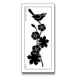 Stencil - Bird with flowers & branch